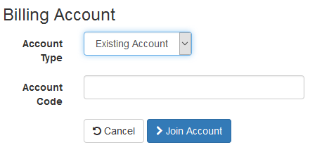 Form to join an existing account