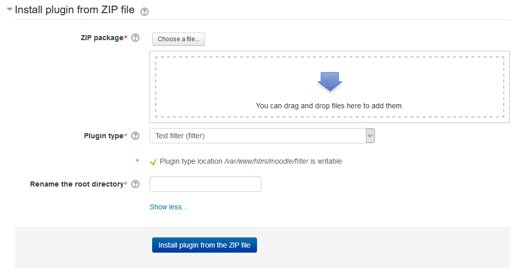 Upload Moodle filter plugin
