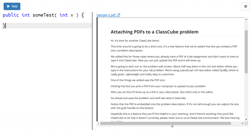 PDF embedded in problem