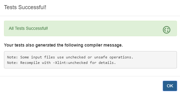 Dialog with unsafe or unchecked operations message